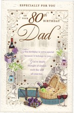 Birthday Age 80th Dad Card - Picnic Basket & Wine