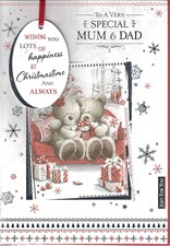 Christmas Mum & Dad Card - Cute Bear Couple Sofa & Presents