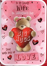 Valentines Day Wife Card – Bear & Hearts