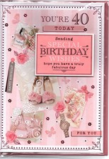 Birthday Age 40th Card - High Heels & Roses