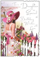 Birthday Daughter Card - Lady In A Pink Hat