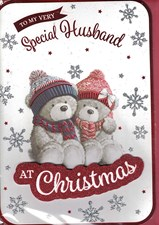 Christmas Husband Large Card - Cute Bear Couple & Snowflakes