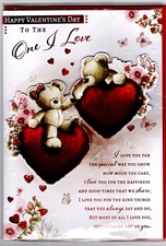 Valentines Day One I Love Card – Bear Couple & Hearts