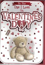 Valentines Day One I Love Card – Cute Bear & Heart Balloon