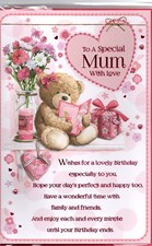 Birthday Mum Card - Cute Bear With Presents & Flowers