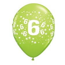 Party Latex Balloon Age 6 Happy Birthday - Pack Of 6
