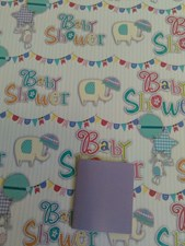 Gift Wrap Baby Shower Elephants & Umbrella - Pack of 2 Sheets & 1 Tag