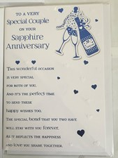 Anniversary 45th Card – Hearts and Champagne