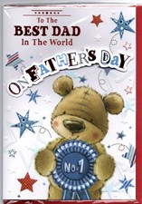 Fathers Day Best Dad In The World Card - Cute Bear & Rosette