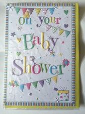 Baby Shower For A Girl or A Boy Card - Cute Bunting