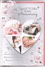Anniversary Wedding Card - Heart Shaped Detail