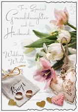 Wedding Day Granddaughter And Her Husband Card - Flowers And Rings