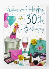 Birthday 30th Card - Champaign And Accessories Female