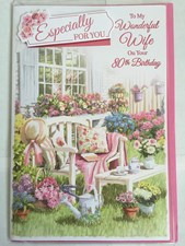 Birthday Age 80th Wife Card - Garden Bench & Flowers