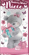 Birthday Niece Card - Cute Bear Hugging A Present