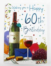 Birthday 60th Male Card - Wine, Grapes, Party Decorations And Stars!