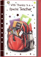 Thank You Teacher Card - Bagpack & Stationary