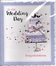 Wedding Day 3-D Square Card - Wedding Cake