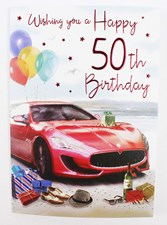 Birthday 50th Card - Red Car On A Beach MALE