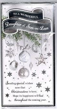 Christmas Daughter & Son-In-Law Card - Hanging Baubles Surrounded by Snowflakes!
