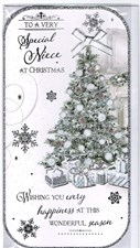 Christmas Niece Card - With A Beautiful Christmas Tree Surrounded By Glitter!