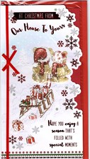 Christmas Our House To Your House Card - Cute Bears With A Present Filled Sled