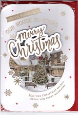 Christmas From Our House to Yours Card - Snowy Scene