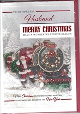 Christmas Husband Card - Santa On A Steam Train