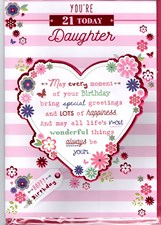 Birthday Age 21st Daughter Card - Hearts & Flowers