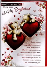Valentines Day Boyfriend Card – Bear Couple & Hearts