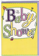 Baby Shower Card - Yellow Polka Dot
