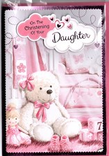 Christening Daughter Card - Cute Bear & Baby Room