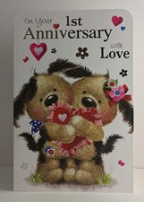 1st Anniversary Card - Cute Puppies & Heart Pillow