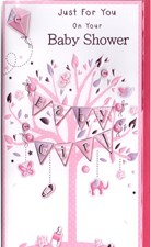 Baby Shower Baby Girl Card - Pink Tree, Elephant & Bunting