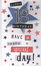 Birthday Age 18 Large Card Male - Multicoloured Stars
