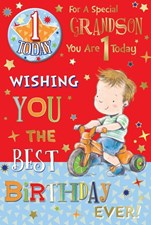 Birthday 1st Grandson Card With Small Badge - Boy On A Tricycle