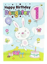 Birthday 1st Daughter Card - A Cute Rabbit Surrounded By Presents!