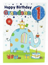 Birthday Age 1 Grandson Card -  A Cute Elephant Illustration!