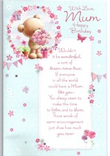 Birthday Mum Card - Cute Bear & Flowers