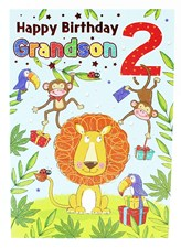 Birthday Grandson 2nd Card - Cute Lion & Jungle Friends!