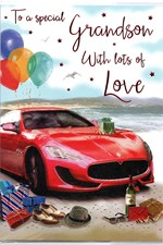 Birthday Grandson Card - Red Sports Car