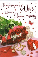 Anniversary Wife Card - Red Roses & Presents