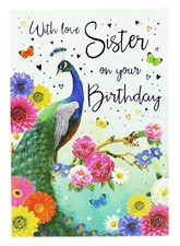 Birthday Sister Card - A Peacock Surrounded By Colourful Flowers!