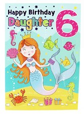 Birthday 6th Daughter's Card - With A Cute Mermaid Illustration!