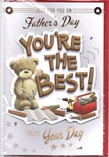 Fathers Day Dad Card - Cute Bear & Work Tools