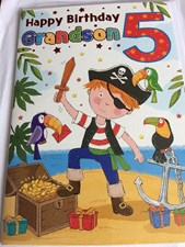 Birthday 5th Grandson Card - Pirates!