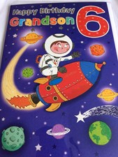 Birthday Grandson 6th Birthday Card - Featuring a Rocket Orbiting Space!