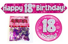 Age 18 Birthday Decoration Kit - Banner, Badge & Confetti Pack