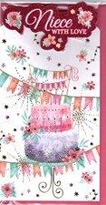 Birthday Niece Card - Colourful Birthday Cake And Buntings