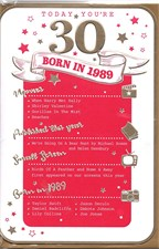 Birthday Age 30 2019 Year Card - 1989 Was a Special Year PINK